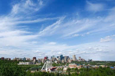 summer, edmonton, walterdale bridge, downtown