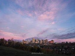 fall, edmonton, downtown skyline, sunrise