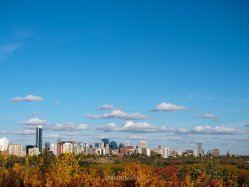 fall, edmonton, downtown skyline