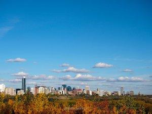 fall, edmonton, downtown skyline