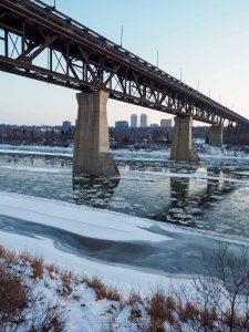 edmonton, winter, north saskatchewan river