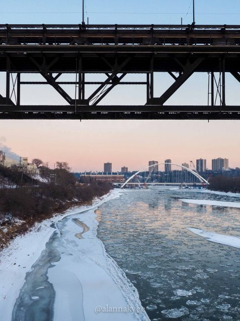 edmonton, winter, nature, walterdale bridge, north saskatchewan river