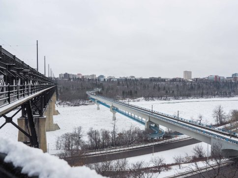 edmonton, winter, nature, high level bridge, north saskatchewan river