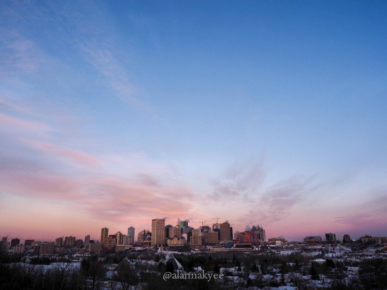 edmonton, winter, downtown, skyline, sunrise