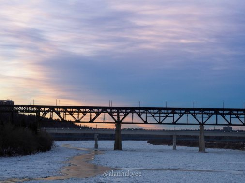 edmonton, winter, nature, high level bridge, sunset north saskatchewan river