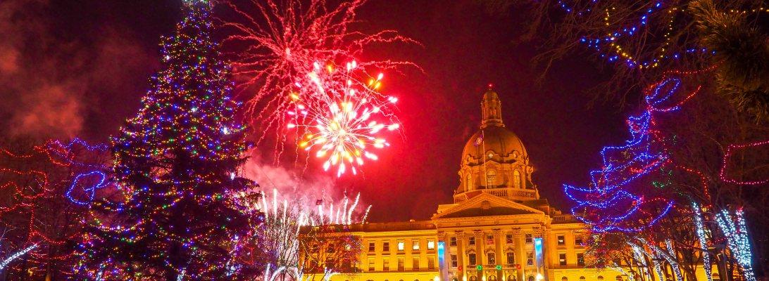 lookbook, december, alberta legislature, new years, holidays, fireworks