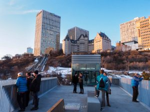 yeg, december, funicular, river valley, hotel macdonald