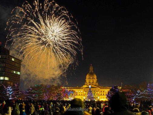 yeg, december, alberta legislature, fireworks, new years