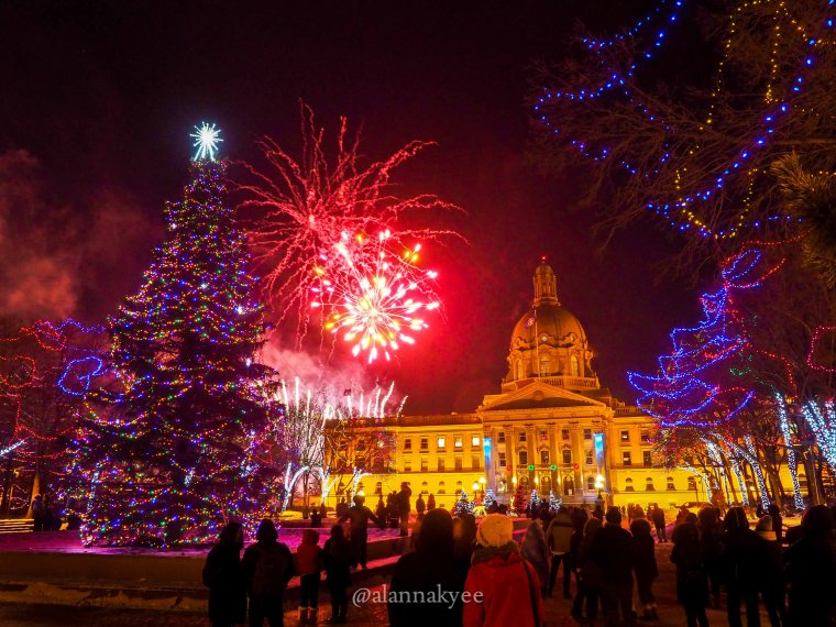 yeg, december, alberta legislature, christmas, fireworks, new years