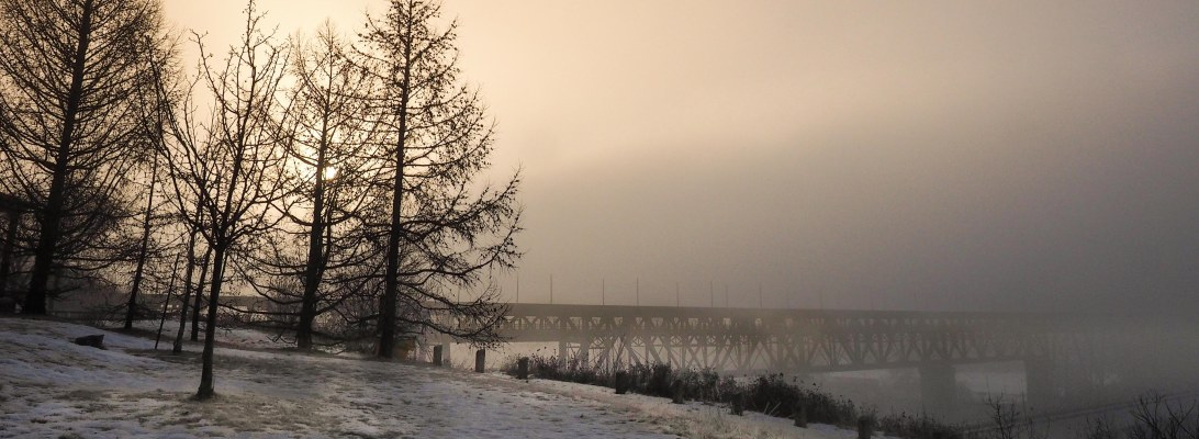 edmonton, january, winter, high level bridge, fog, sunrise