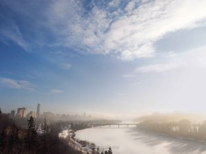 yeg, january, edmonton, winter, sunrise, downtown, fog