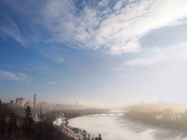 yeg, january, edmonton, winter, sunrise, downtown, fog