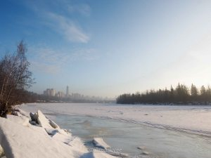 yeg, january, edmonton, winter, fog, downtown, north saskatchewan river