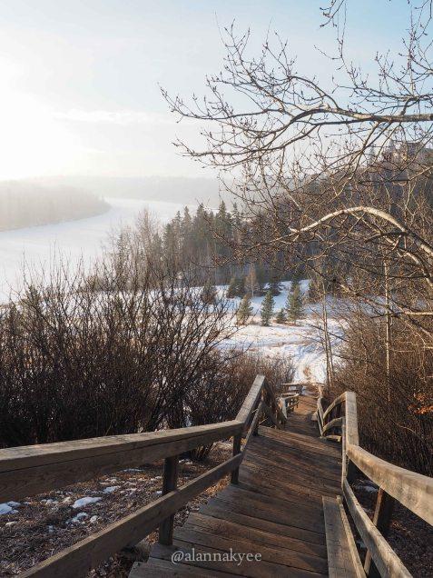 yeg, january, edmonton, winter, fog, downtown, north sakatchewan river, mackinnon ravine