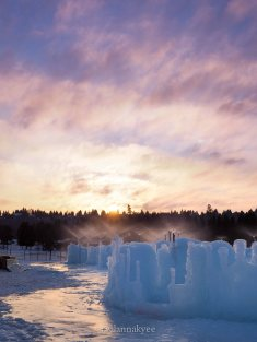 lookbook, edmonton, hawrelak park, ice castles, winter, sunset