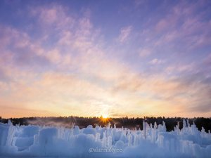 lookbook, edmonton, hawrelak park, ice castles, winter, sunset