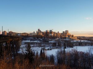 edmonton, yeg, february, winter, river valley, high level bridge, downtown