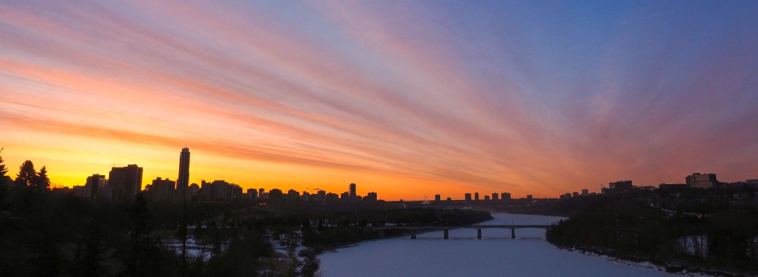 yeg, lookbook, spring, april, north saskatchewan river, sunrise