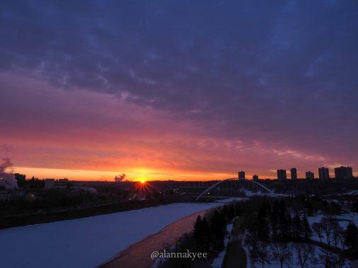 yeg, edmonton, lookbook, april, walterdale bridge, sunrise