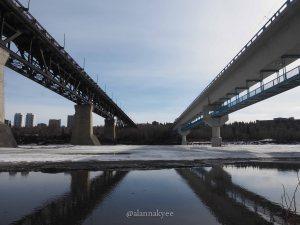 yeg, edmonton, lookbook, april, spring, north saskatchewan river, lrt, high level bridge