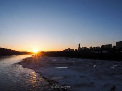 yeg, edmonton, lookbook, april, spring, north saskatchewan river, lrt, high level bridge, sunset