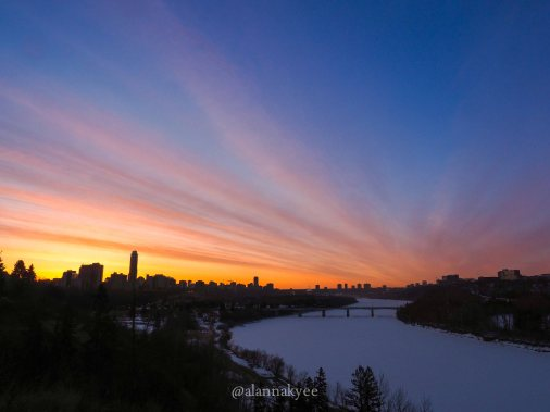 yeg, lookbook, april, sunrise, north saskatchewan river, downtown