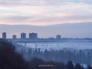 yeg, lookbook, march, snow, winter, high level bridge, sunrise, fog