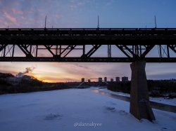 yeg, lookbook, march, snow, winter, high level bridge, sunrise, spring