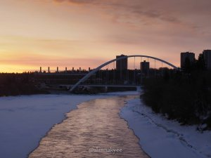 yeg, lookbook, march, snow, winter, walterdale bridge, sunrise, spring