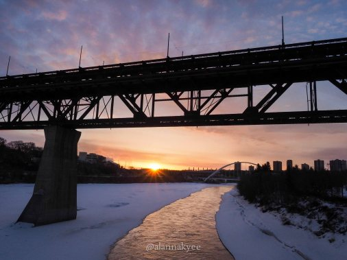 yeg, lookbook, march, snow, winter, walterdale bridge, high level bridge, north saskatchewan river, sunrise, spring