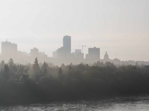 yeg, lookbook, may, spring, river valley, fog, alberta legislature