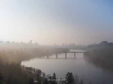 yeg, lookbook, may, spring, river valley, fog, high level bridge